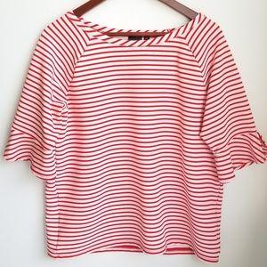 Rafaella Nautical Red & White Stripe Top Sz L